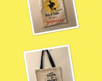 Personalized Halloween canvas trick or treat bags