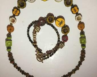 Czech Beaded Bracelet and Necklace