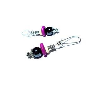 Bohemian earrings, black hematite and purple stone