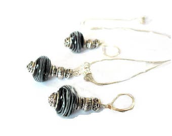 Set of Silver 925, murano beads Black White ruffles