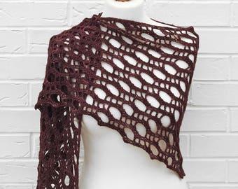Crochet Lace Shawl, Redwood Bark Variegated Shawlette, Knitted Shoulder Festival Long Scarf, Girls Beach Knit Wrap, Burgundy Wine Red Scarf