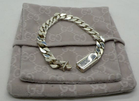 Vintage Gucci 21 Sterling Silver Cuban Curb Link Bracelet with Original Pouch, Retired Design