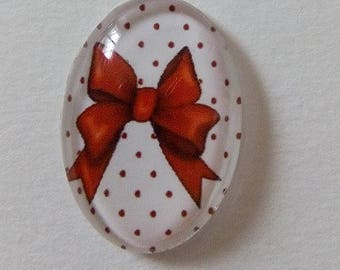 cabochon double-bow on polka dots, 18x25mm
