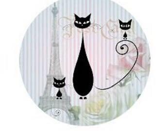 Black Cat, kitten and eiffel tower, 20mm
