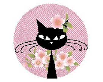 Black Cat, flowers, 20mm cabochon