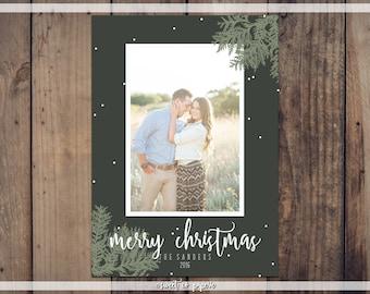 GREEN PINE CHRISTMAS Digital Card, Christmas Card, Christmas Digital Card, Photo Card, Christmas Cards 2017, Pine Christmas Card