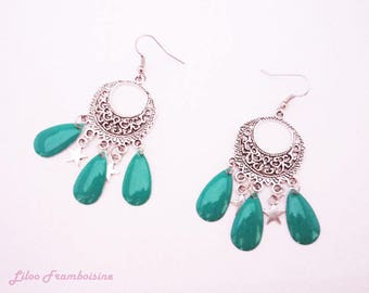 Dangle drop earrings Emerald and Star