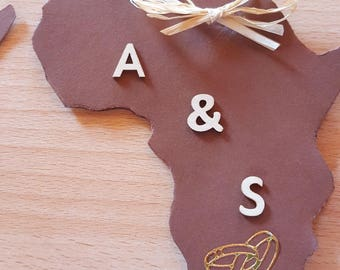 Africa map shaped card