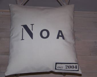 Light gray child's name personalized 50cm X 50 cm cushion