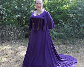 Knit Dress with Bell Sleeves and Half Circle skirt for Medieval and Renaissance Dress