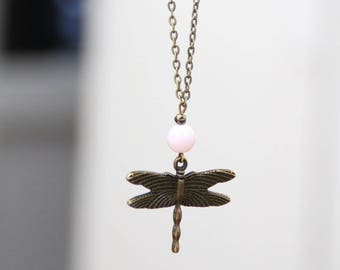 Dragonfly necklace / brass & pale pink Pearl