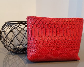 Beautiful small faux leather red python makeup Kit