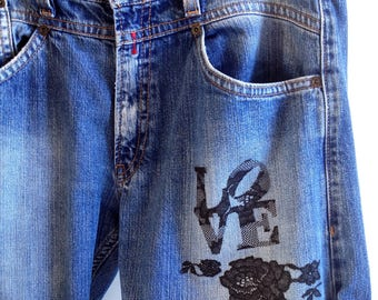 Kit, tutorial, DIY, fusible to customize your Jeans floral lace.