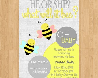 Baby shower| |baby sprinkle|invitation|invite|party|digital|printed|diy|new baby|Bee|Gender reveal|he or she|Bee Baby shower