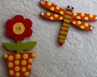 Flower and Dragonfly Magnet Set For Refrigerators, Lockers and Offices