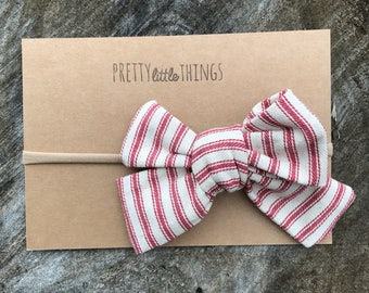 Large Striped Fall Bow - nylon headband