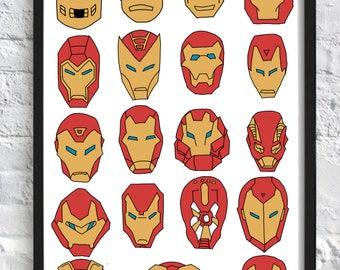Iron Man Helmets Marvel Print A3 (297x420mm)