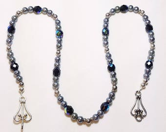 Black Pearls and Crystals Single Strand Necklace