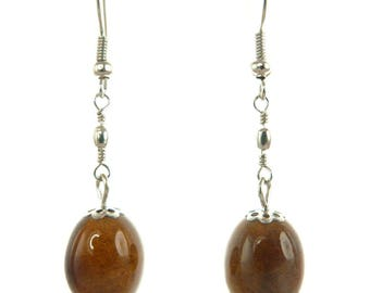 Claissques Brown oval porcelain earrings