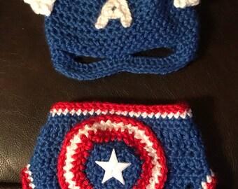 Newborn Captain America Hat/Diaper Cover