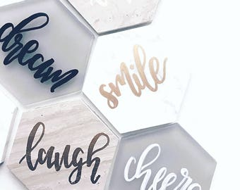 Hand Lettered Coasters | Set of 4 | Hexagon |  Marble | Seaglass |