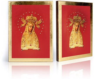 Icon Our Lady of Lichen - handmade religious wood icon, gilded, beautiful gift, 4 sizes to choose.