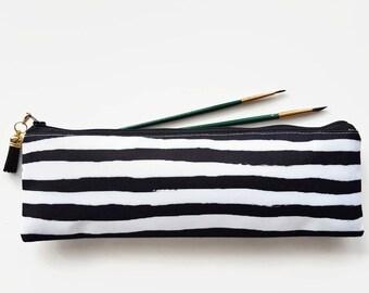 XLong brush bag,Art gifts,painted stripe,pencil case, student gift, teacher gift, art gift, pencil pouch, brush bag,monochrome,gold,stripe.