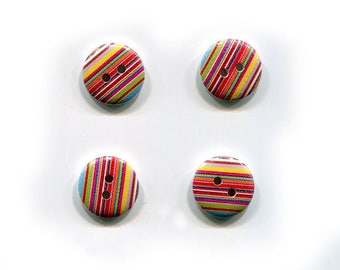 buttons 4 striped * multicolored * 15mm * wood