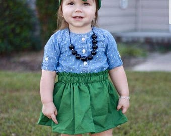 hunter forest green skirt and headwrap baby girls fall skirt and headwrap hairbow green