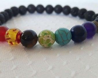 Chakras bracelet with lava stones