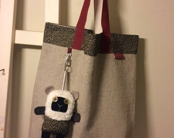 Kids Tote 36 * 47 in natural linen and fabric liberty