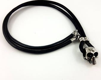 Stainless Steel Skull Pendant on 25 inch Black Leather, Trendy Fashionable Necklace for Men, Women, and Teens, Great Gift