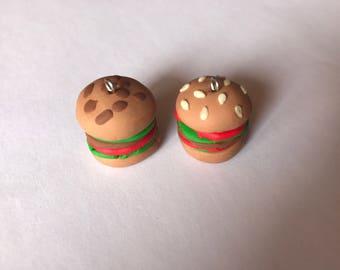 Creation in Fimo pair of Hamburger Pendant