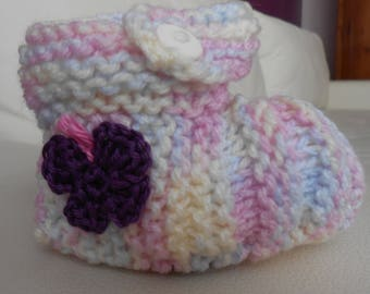 Knit 6 months baby ballerinas multicolored Butterfly