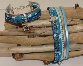 "Duo of cuff Bracelets for MOM and daughter ""turquoise Star"" leather, glitter, studded Suede, turquoise blue color"