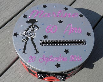 URN for birthday theme woman chic, very, little black dress, pink and silver color, glitter, customizable