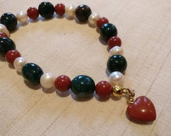Designer bracelet with Jasper, heliotrope and bead on elastic with jasper Heart Pendant