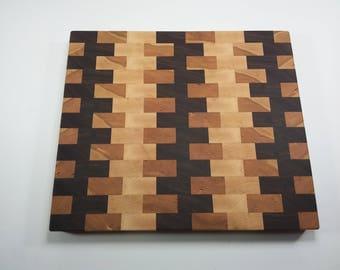Cherry maple walnut wood cutting board
