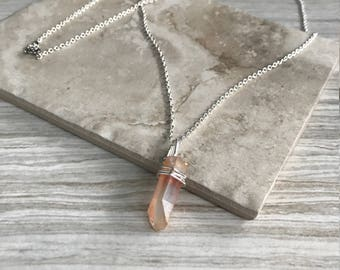 Silver Chain Pink Crystal Necklace