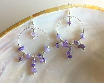 Crystal Hoop Chandelier Earrings/ bohemian style hoops