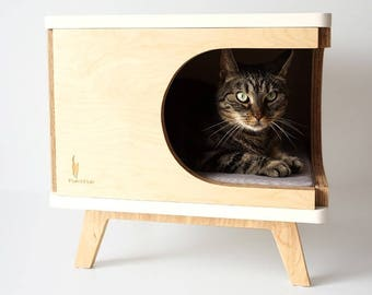 Stylish Plywood Cat House, Modern Design Cat Bed, Gift For Cat Lover, Cat
