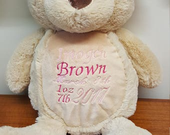 Personalised baby bear, embroidered todlers