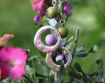 Earrings hook seeds purple and Olive Green - Silver 925