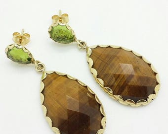 14k Yellow Gold Peridot Tiger's Eye Pear Shape Drop Earrings