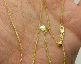 "14k Solid Yellow Gold Adjustable Wheat Necklace Pendant Chain Up to 30"" 1.0mm"