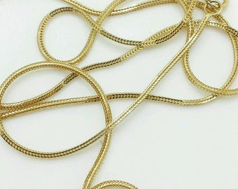 "14k Solid Yellow Gold Foxtail Square Box Wheat Necklace Chain 16""-20"" 0.8mm"