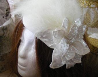 Cream Pillbox fascinator/hat