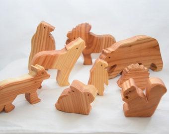 Wooden animals - woodland animals set - woodland animals - waldorf toy - animals toy - wooden toy - handmade toy - birthday gift - kids toy