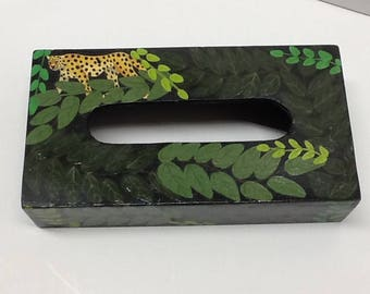 Authentic Hand Made Tissue Box Cover with Tiger Design Box from well known Haitian Artist Moro Baruk FREE SHIPPING