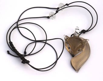 Smoky Brown curled Fox-shaped glass pendant necklace